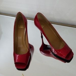 Stuart Weitzman red patent leather red heels size